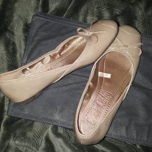 Taupe patent leather flats